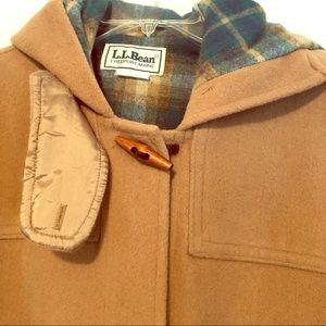 VTG LL Bean Hooded Toggle Beige Wool Coat Size 14